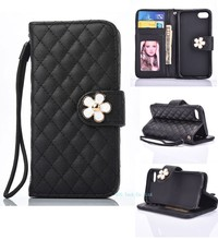 Little Daisy Flower pattern leather cover with plug-in card for iphone7 wallet stand cell phone case free sample offer