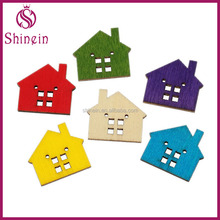 Multicolor 24*22mm house shaped wooden sewing buttons