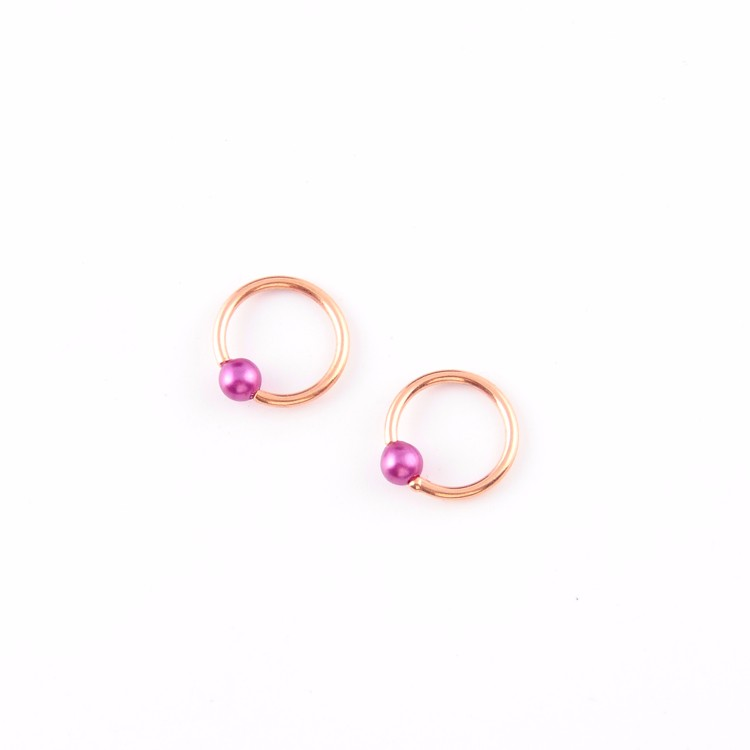 New colors stainless steel ball closure ring circular barbell earrings for women