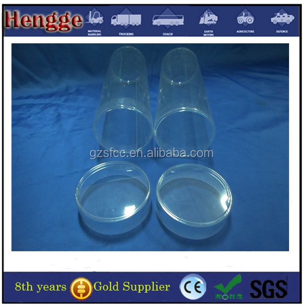 custom plastic round clear PC material container with cap