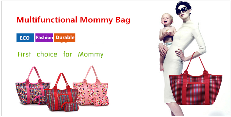 2017 Fashion neoprene mommy baby bag/ladies bags/holding diaper bag