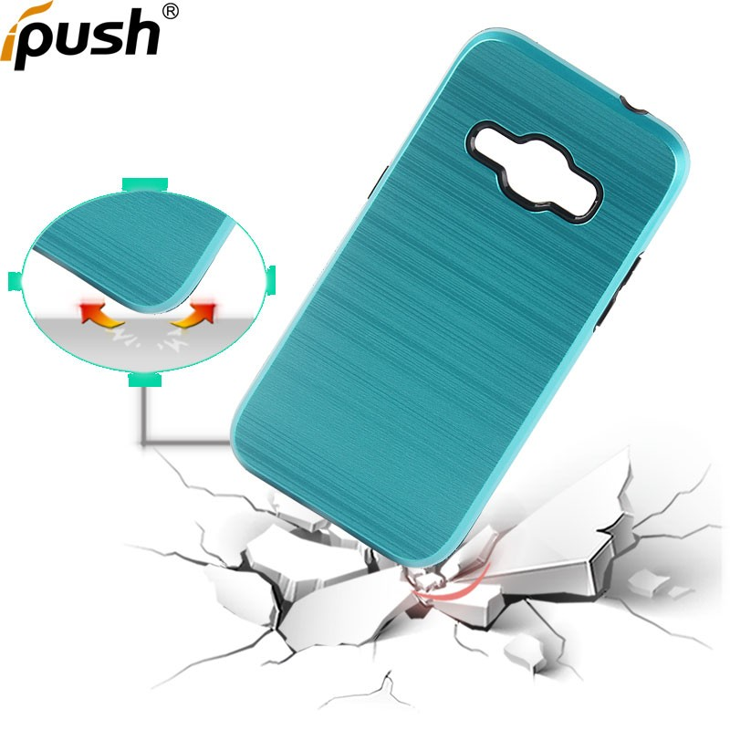 Hot selling tpu pc combo slim brushed armor mobile phone back cover case for Samsung J1(2016)/J120 Wire Drawing hybrid Case