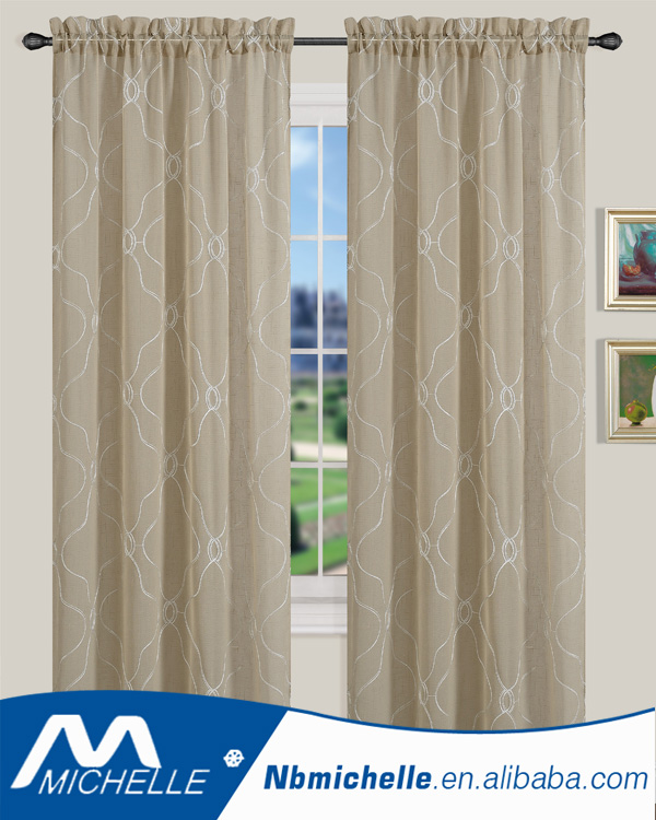 2017 new style Grommet Window Embroidery Voile Curtain