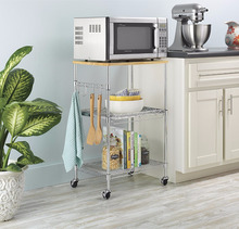 High quality supreme microwave kitchen cart, wood & chrome 3 tier baker rack