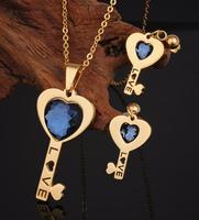 Dubai CZ Fashion Jewellery Heart Shaped Key Earrings Diamond Necklace Stainless Steel Jewelry Set