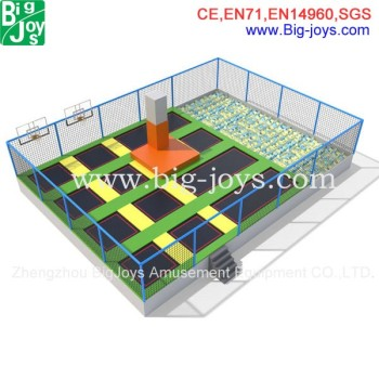 indoor trampoline park with foam pit and basketball,baskets trampoline park for sale