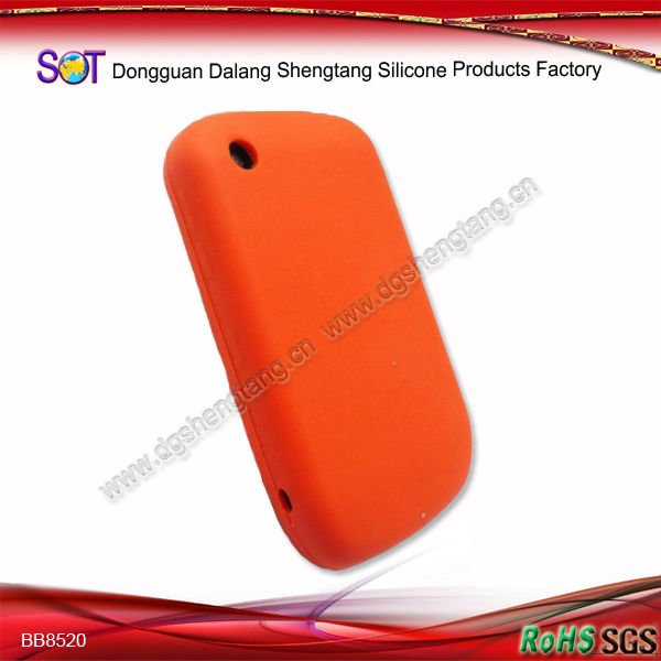Soft orange silicon phone case for blackberry 8520 curve
