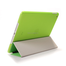 Green PC and PU leather case with stand vision for ipad mini cases