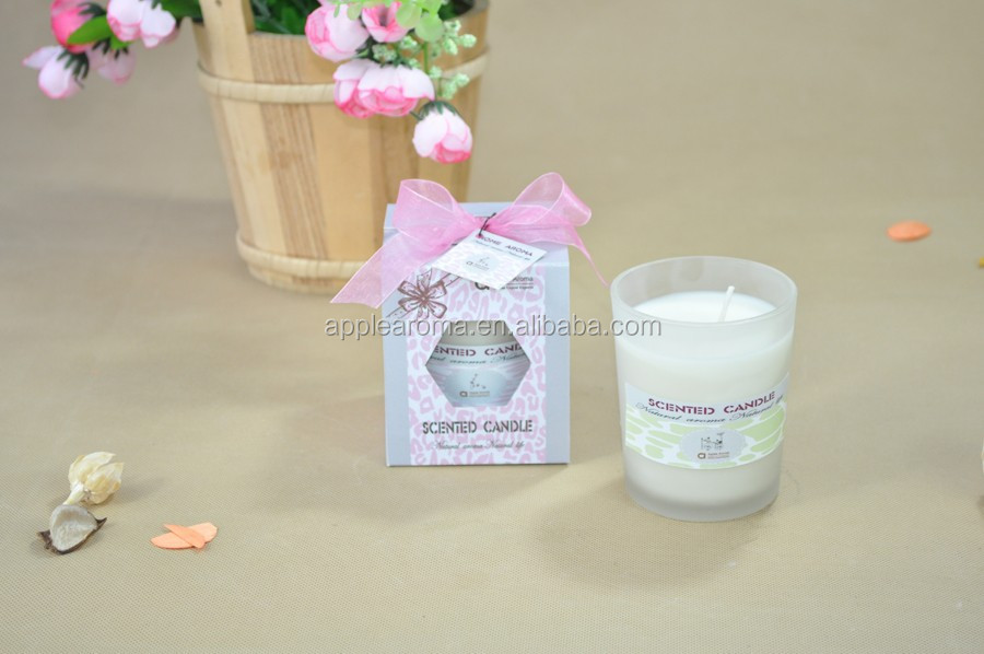 scented soybean wax candle in frosted candle jars