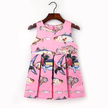Fashion Fish Printed Dresses Toddler baby Girls Clothes Children Kids girls party dresses