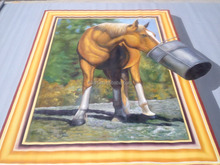 Modern abstract handmade 3 d horses water oil painting art