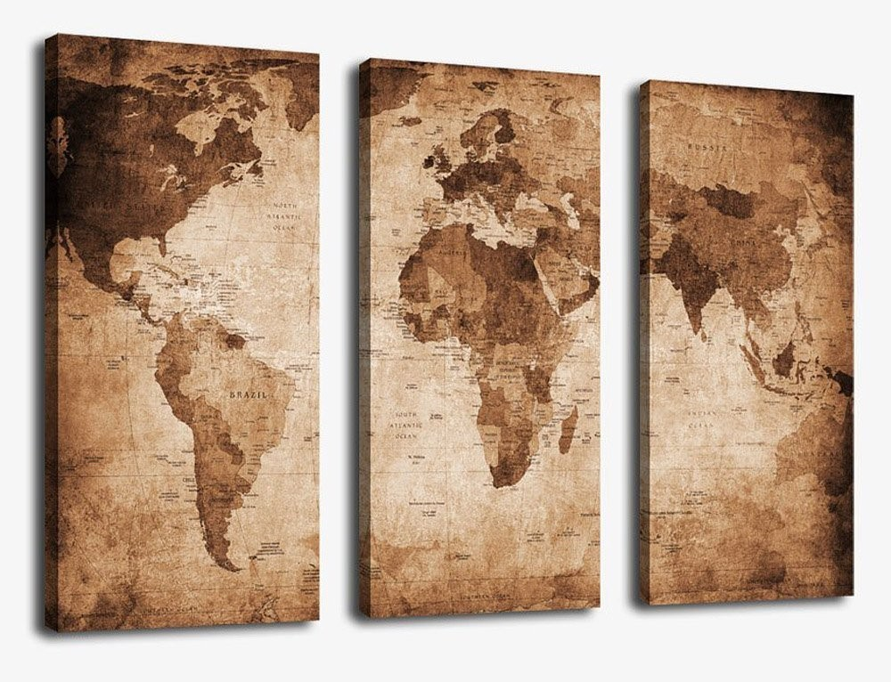 3 Panel Large Retro World Map Antiquated Map of World Abstract Painting Pictures Giclee Art Reproductions for Home Wall Office