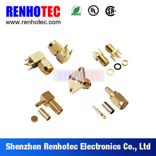 High quality rf connector pcb mount coaxial connector male female sma connector