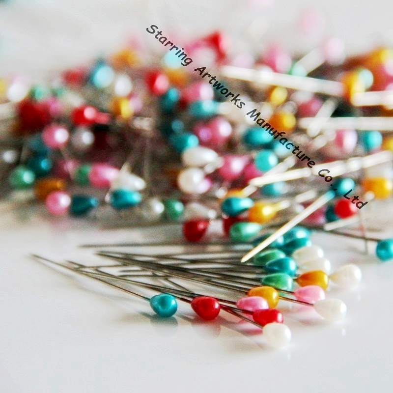 38mm Assorted Colors Plastic Teardrop Dressmaking Straight Pins