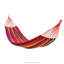 Portable Canvas Camping Hammock Widen Single Swing Bed with Wooden Bar
