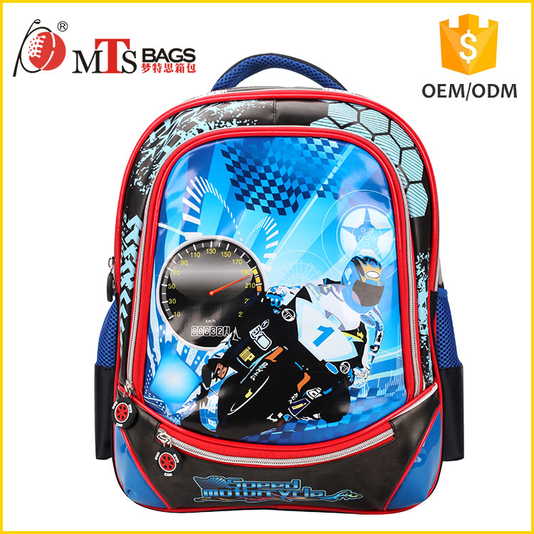 quality assurance Polyester Digital Printing craft motorcycle photo 16 inch kids school bag with cross shoulder straps