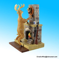 Deer Hangs Hunter Head Wall Trophy Resin Figure - Comical Sportsman Figurine