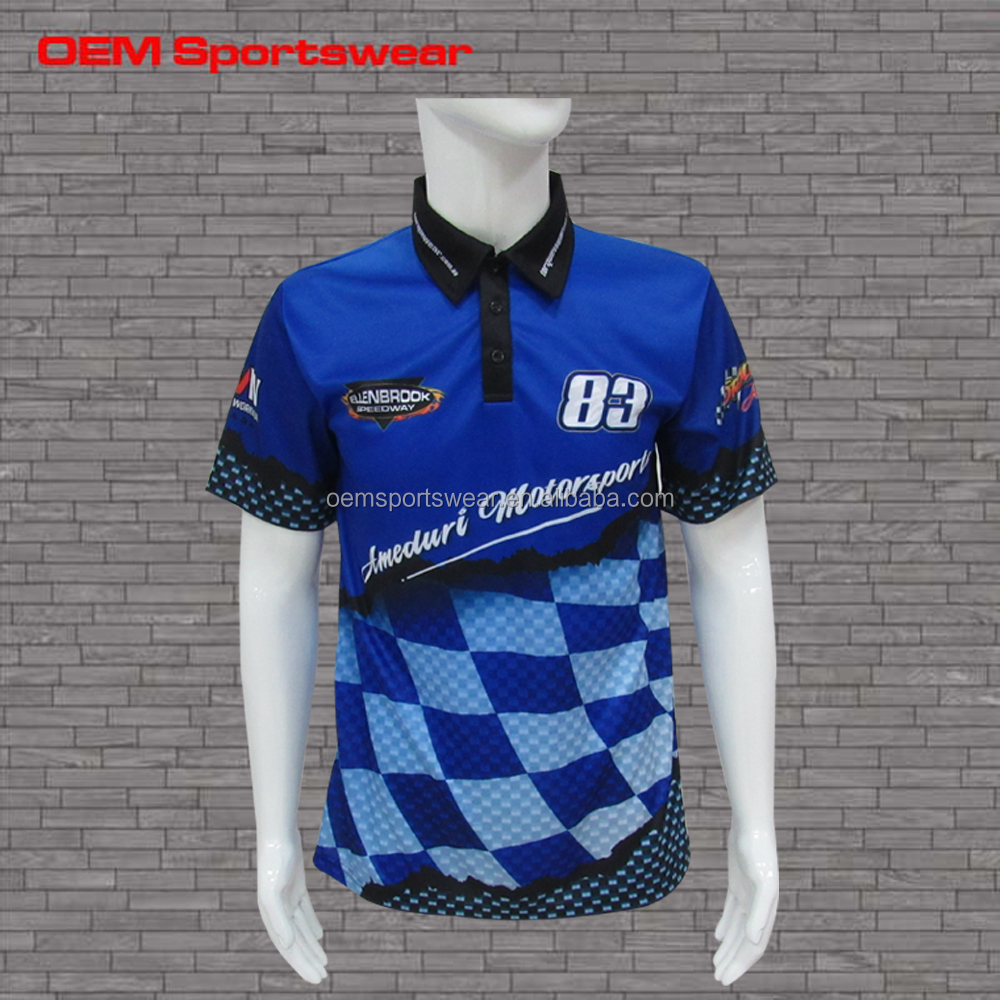 China manufacturers blue dye sublimation motorcycle shirts