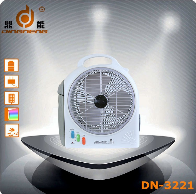 DINGNENG DN-3221 ABS white stand electric rechargeable fan with battery