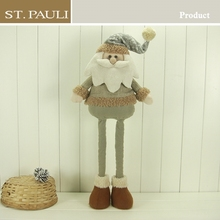 Elegant decor plush Xmas silver santa Christmas decor
