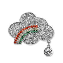High Quality Pave Colorful Zircon Rhinstone Rainbow Clouds Shape Pin Brooches