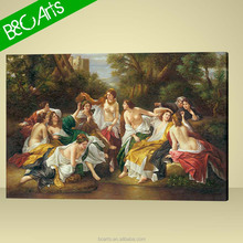 Oval stretched canvas photo printing nude women painting by number
