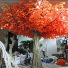 2016 Customized steel artificial autumn red maple tree with branches and leaves