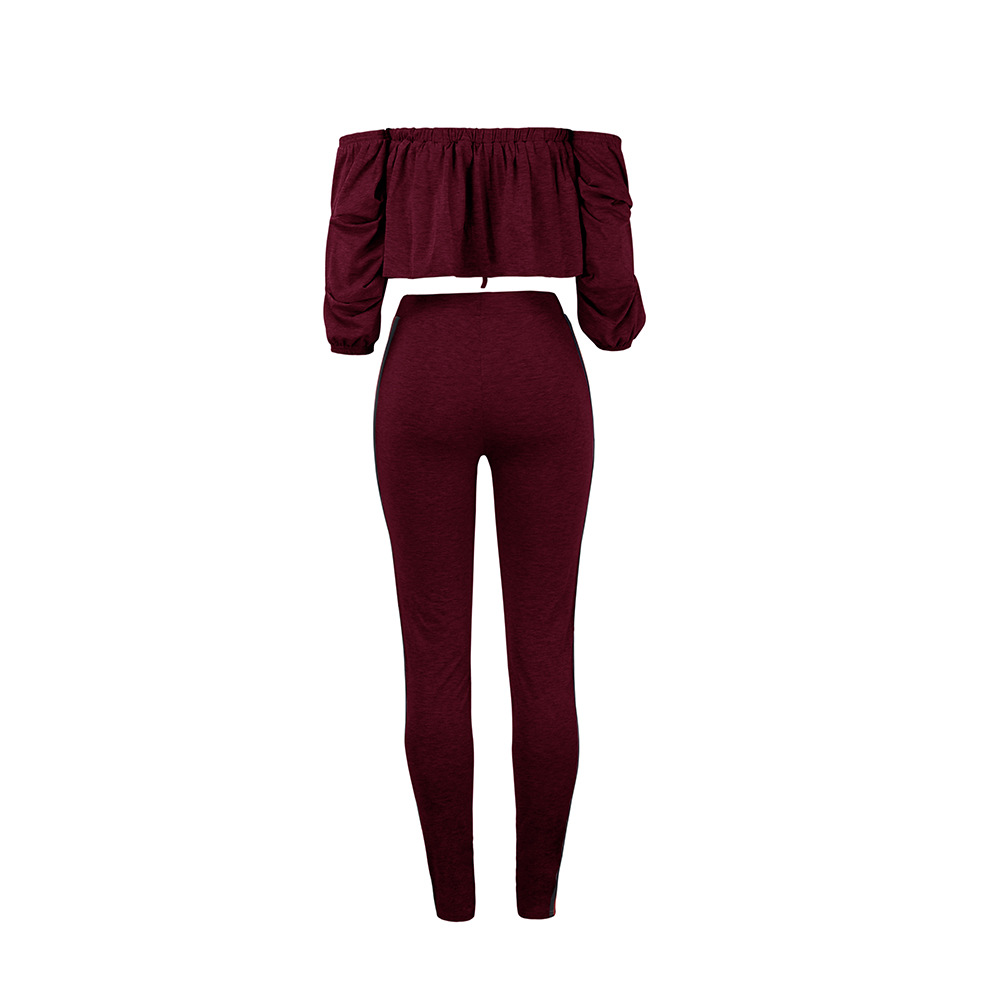 Summer Rompers Jumpsuits for Women Nightclub Casual Sexy Off Shoulder Bra Ruffle Bra Top Long Pants 2 Two Pieces Sets Jumpsuit