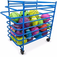 Steel Frame Sports Ball Cart with Caster Wheels Basketball Stand