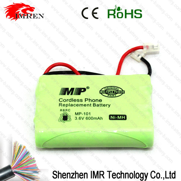 High quality Ni-Mh MP-101 3.6V 600mAh Cordless Phone replacement rechargeable battery pack,IMR battery charger