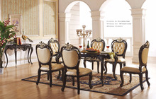 2017 Royal European Style Classic Italian French antique wodden dining sets with carved