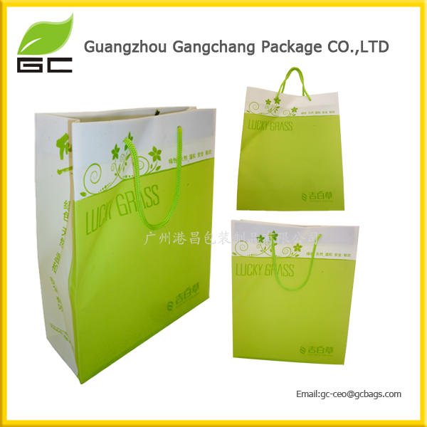 pp gift shopping packing bag with handle promo