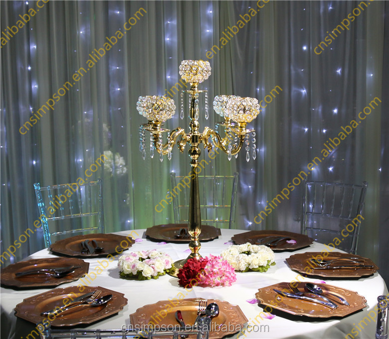 5 arms gold candelabra with crystal beads bowl for wedding table decoration