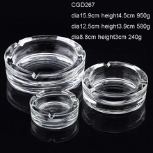 Dia8.8cm Dia10cm Dia12.5cm Dia15.9cm LOW MOQ Cheap Promotional Round Crystal Clear Glass Ashtray