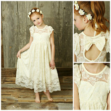 2016 Flower Girls Lace Maxi Dress Baby Kids Ivory Lace Big Bow Country Style Wedding Dress