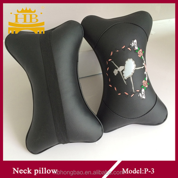 bone shape leather car neck pillow