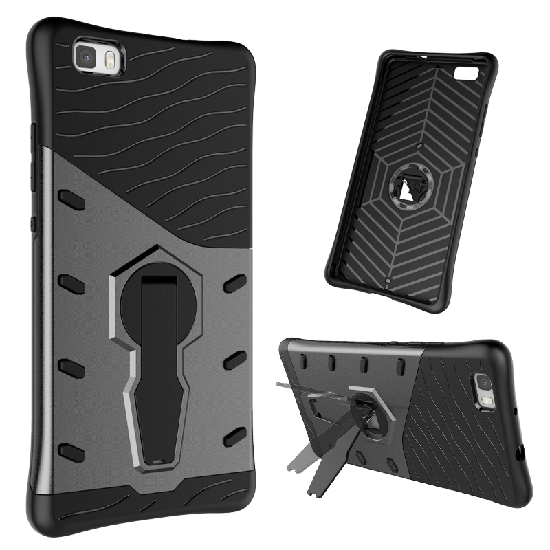 High Quality Hybrid Armor Silicone Holder Case for Huawei P8 Lite TPU+PC Prevent Scratch Case With 360 Degree Rotation Holder