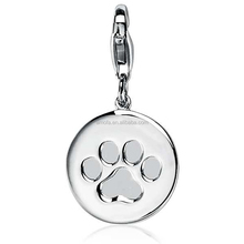 Paw Print Charm Pendant for Necklace&Bracelet in 925 Sterling Silver
