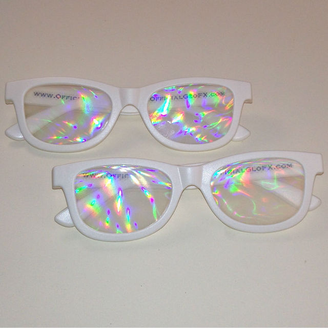 colorful branded rainbow glasses in plastic or paper frame