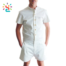 Wholesale Mens room white romper gym adult male summer jumpsuit plain short sleeve cotton rompers for men