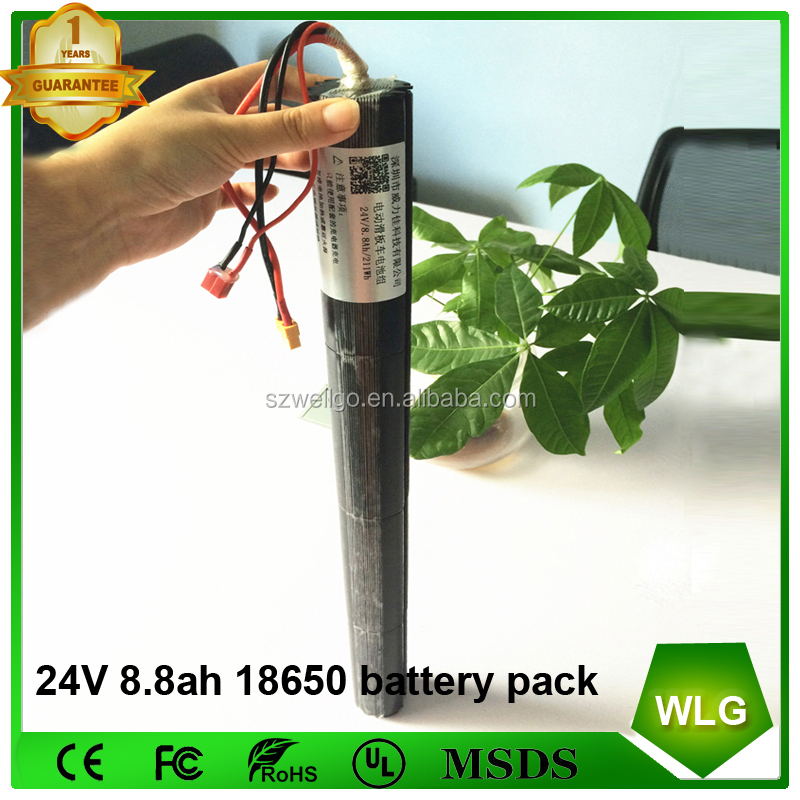 24v lithium battery 8.8ah 10.4ah Rechargeable 18650 Electric bike battery pack