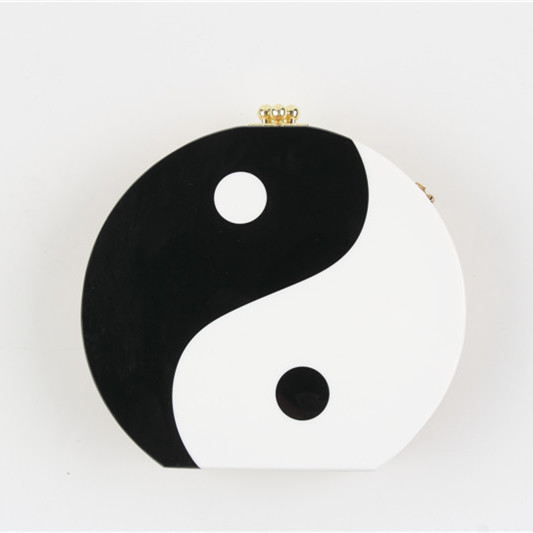 Unique Design Round Handbag Chines Yin and Yang Graphics Wooden Clutch Bag Ladies Shoulder Bags