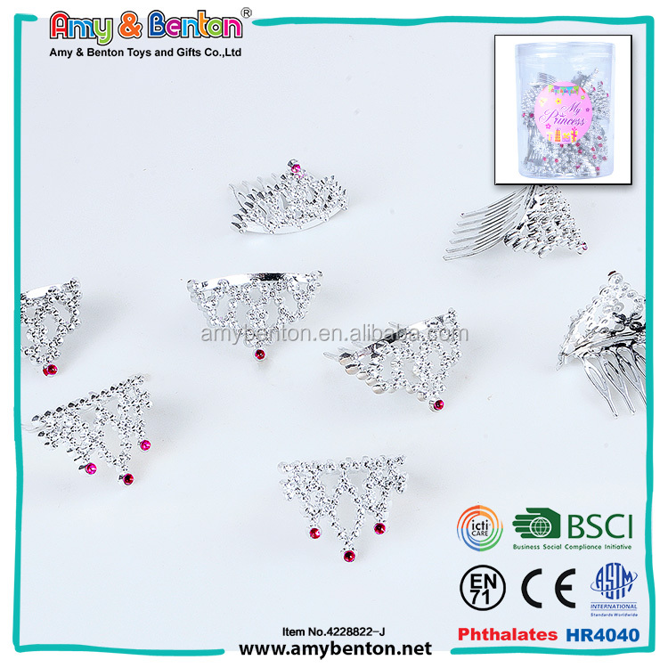 Wholesale promotional gift plastic tiaras and crowns for girl's jewelry
