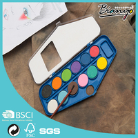 12 colors solid watercolor cake art supplies watercolor paint sketch set with brush