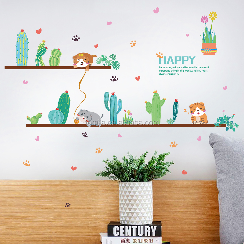 kids cartoon custom cute cartoon cat decorative wall sticker for kids room decoration