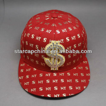 CUSTOM FLAT BRIM FITTED CAP FLEX FIT BASEBALL FITTED CAP WITH RHINESTONE