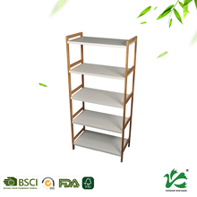Wholesale eco friendly five tier houseware book storage bamboo shelf