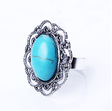 new desgin fashion turquoise hollow jewelry adjustable ring
