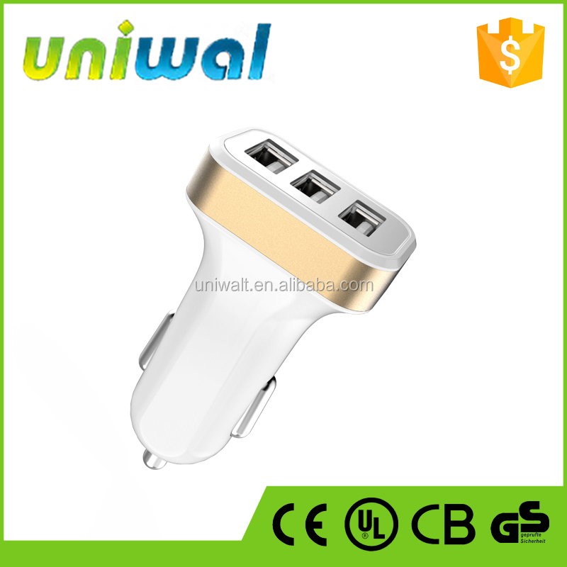 car charger for mobile phones, 3 usb ports car charger with 5v 3.1a output