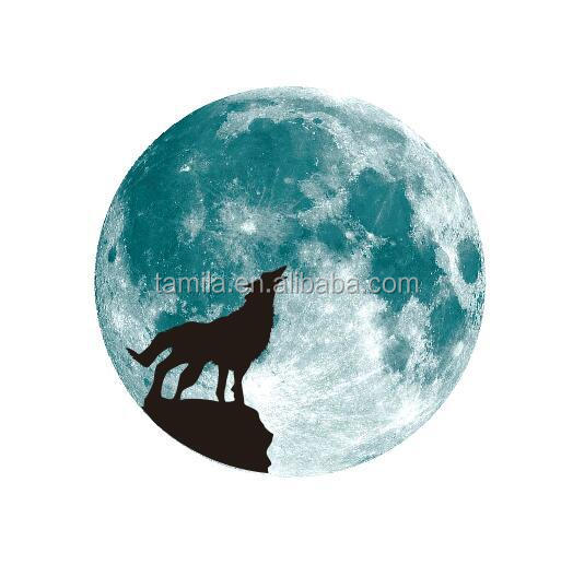 Home decoration glow in dark wolf wall animal sticker